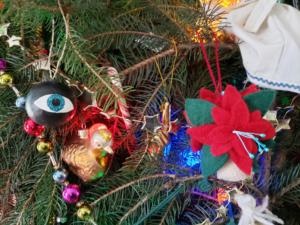eyeball and poinsettia ornaments