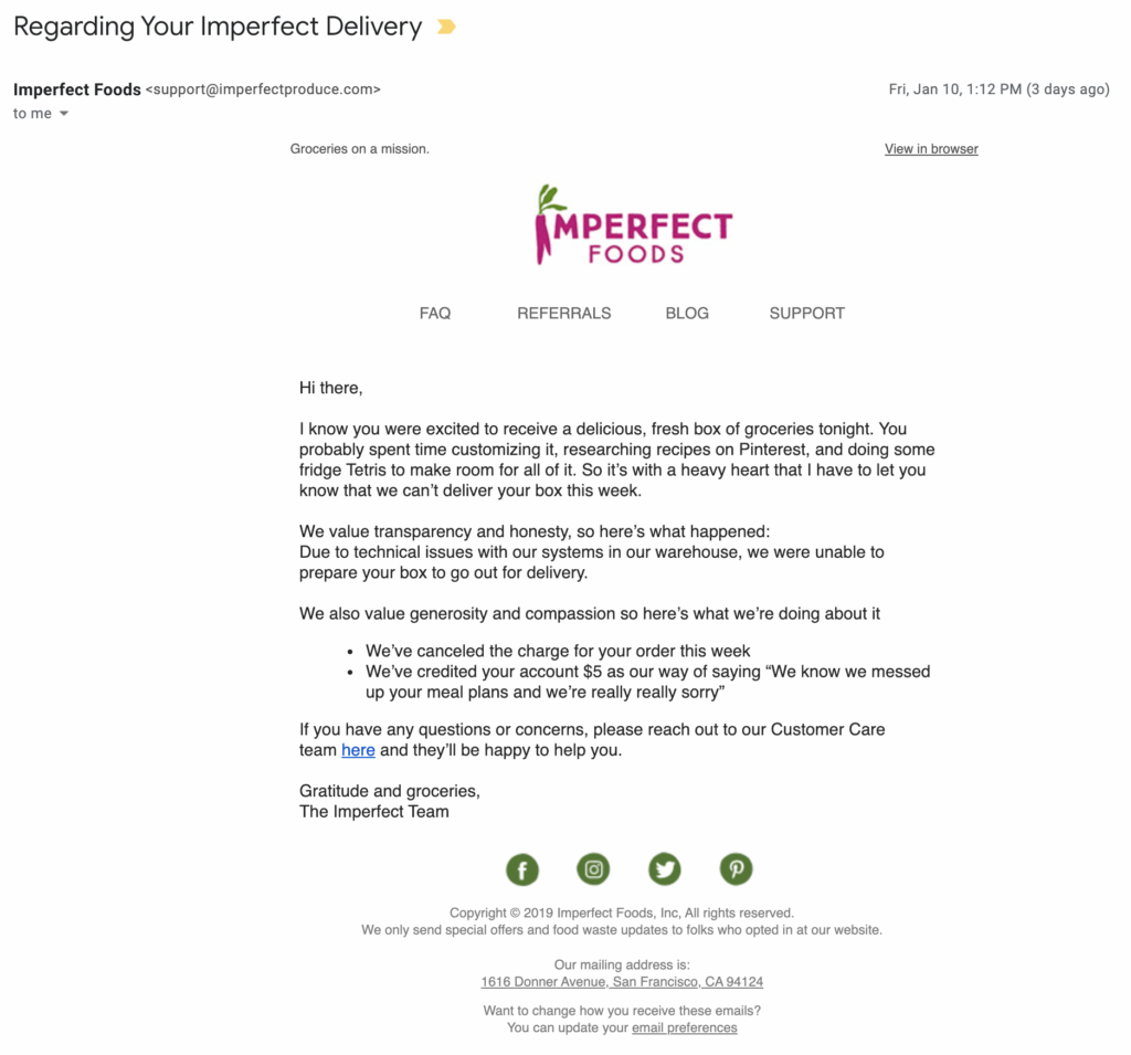 Imperfect Foods email